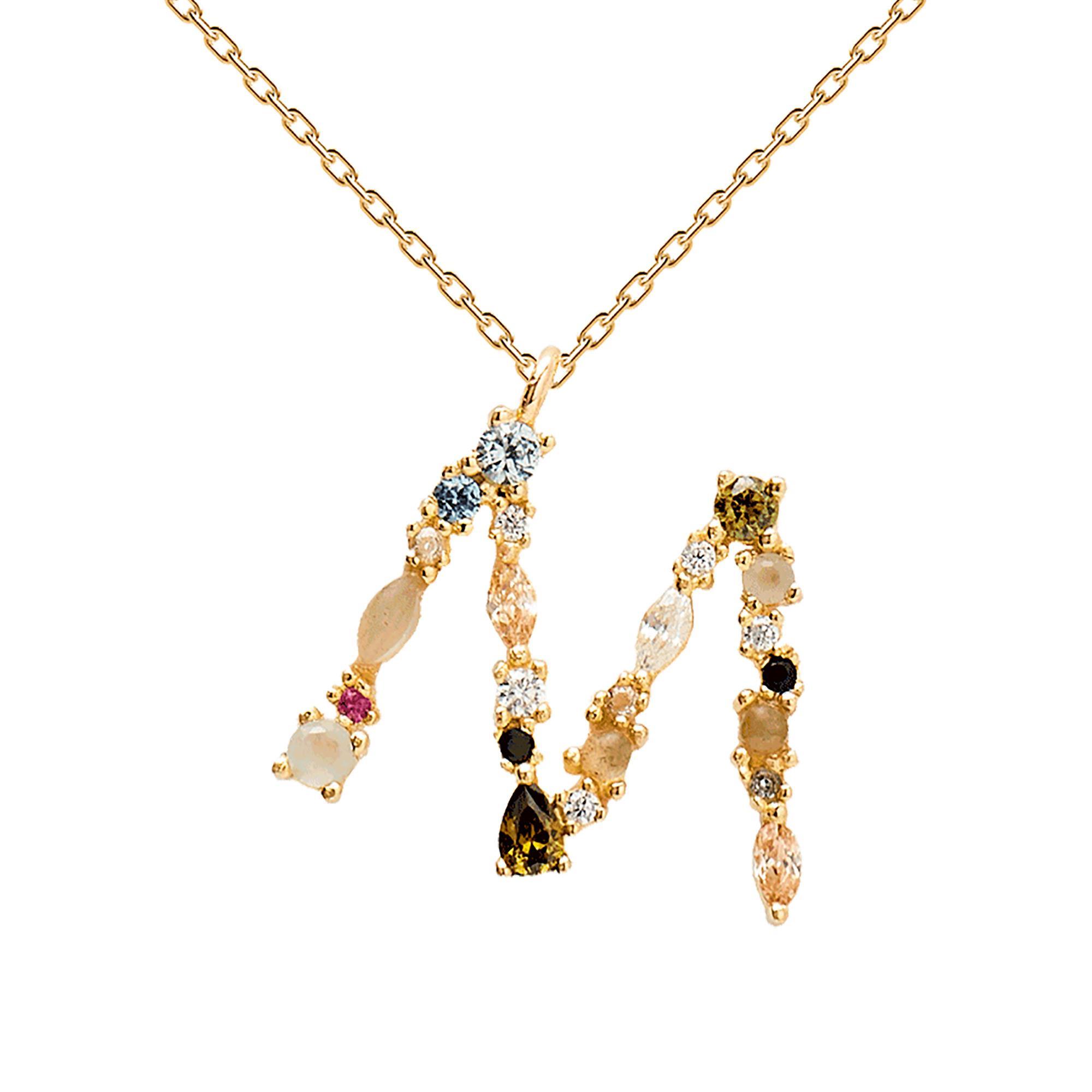 Collana Lettera M Oro Zirconi e Pietre Donna - PDPAOLA