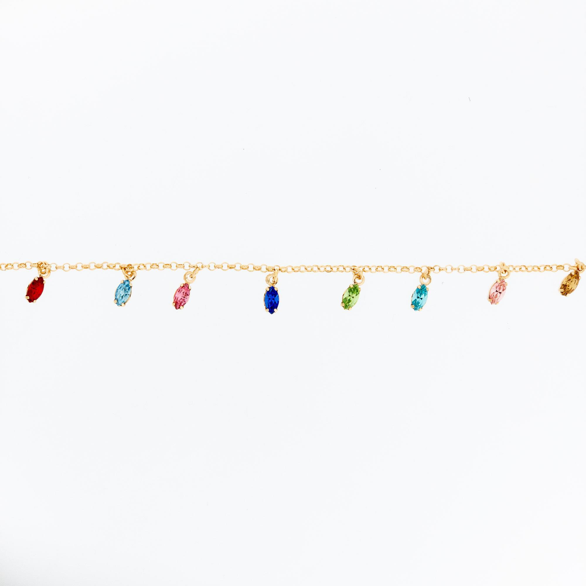 Bracciale Argento Rosato Ciondoli Pietre Colorate Donna - JÒYELLO