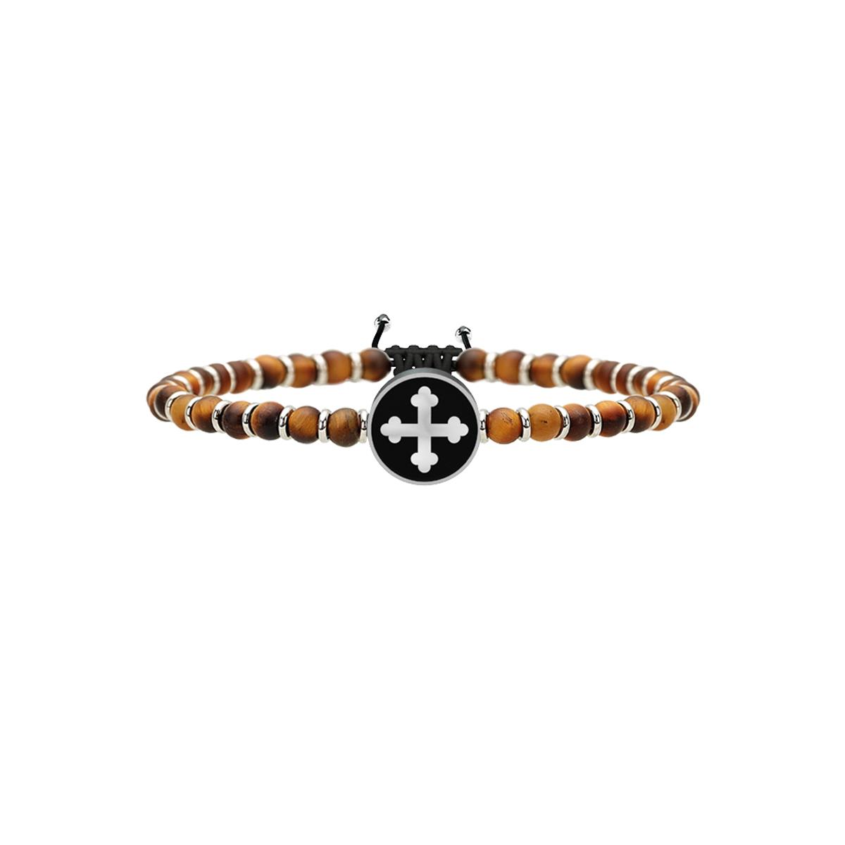Bracciale Spirituality Uomo in Acciaio e Occhio di Tigre Croce di San Michele | Arcangelo Guerriero  731222 - KIDULT