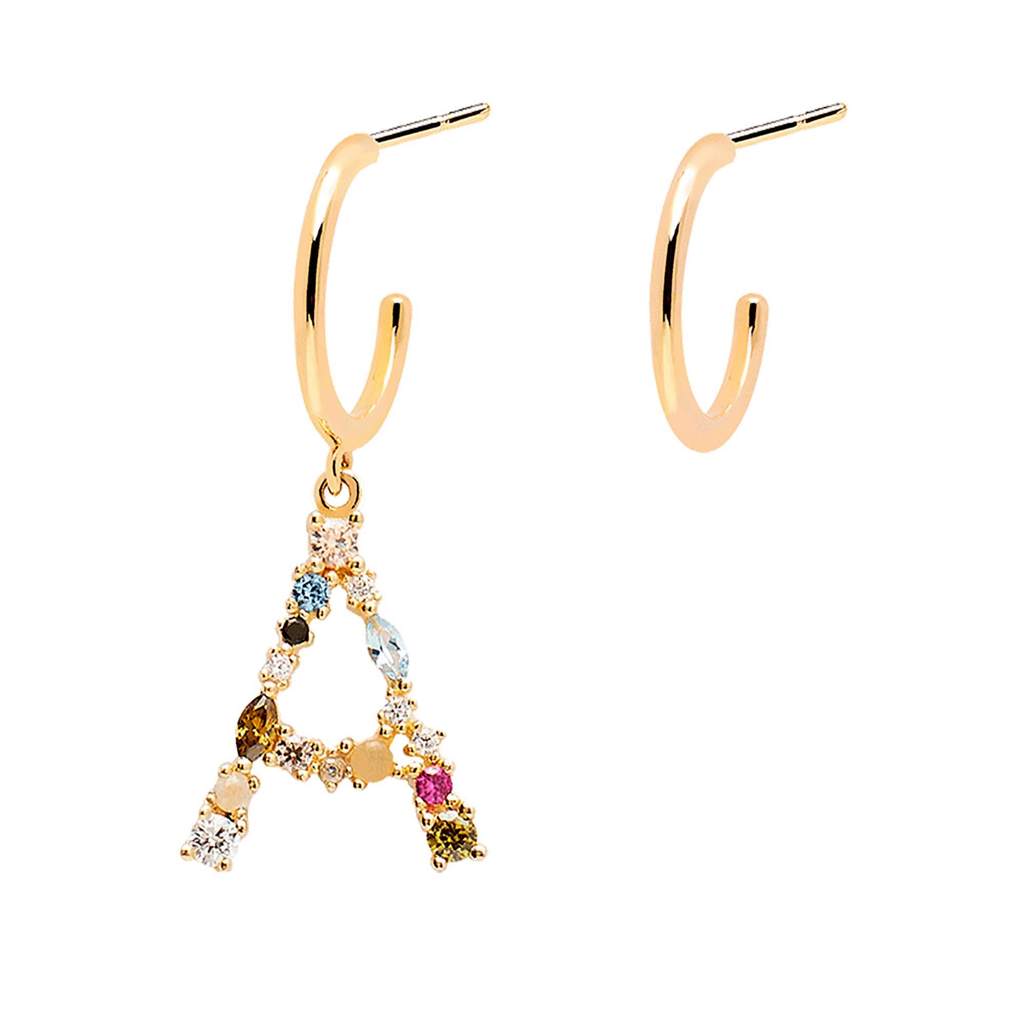 Orecchini Lettera A Oro Zirconi e Pietre Donna - PDPAOLA