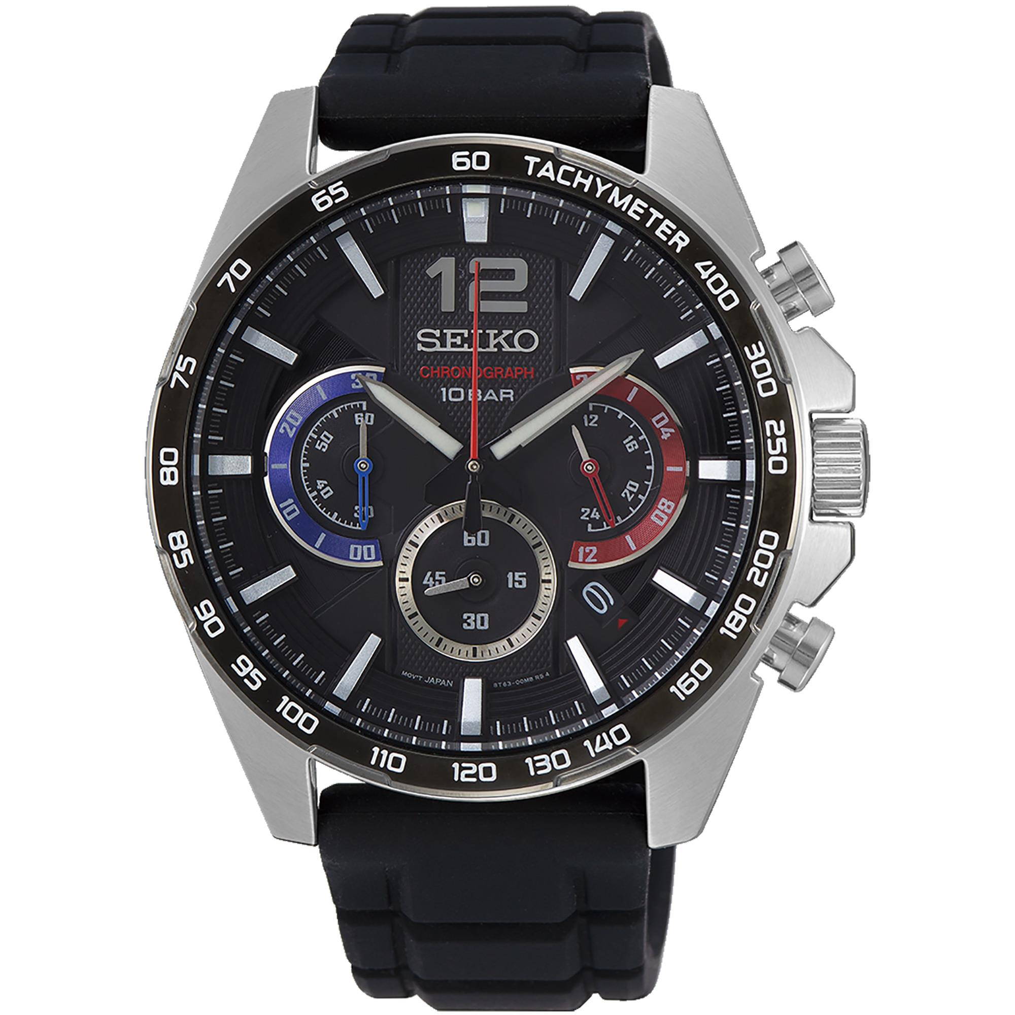 Orologio Cronograph Acciaio Uomo Silicone Nero Rosso e Blu - SEIKO