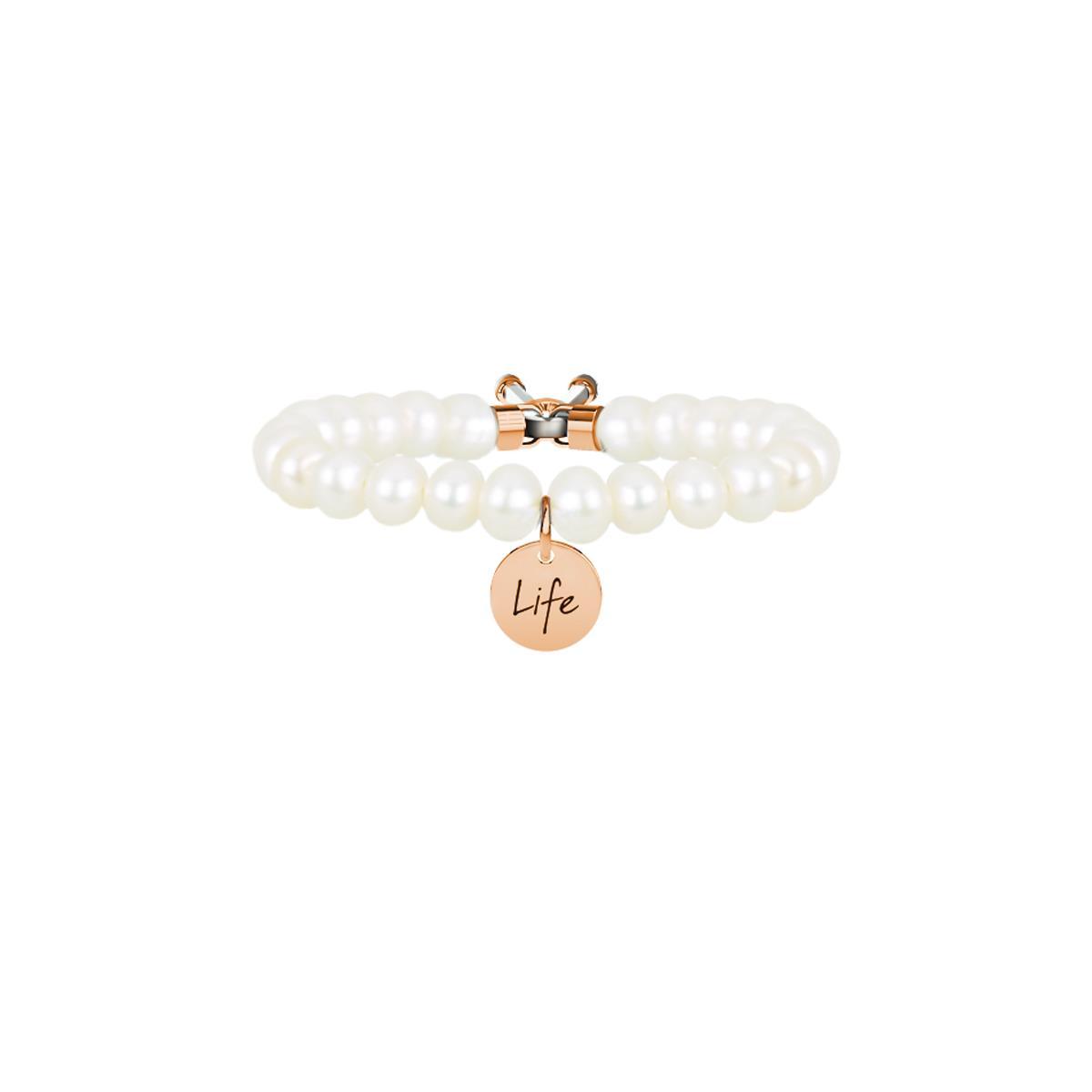 Bracciale Symbols Perle Bianche Acciaio Oro Rosa Donna 731051 - KIDULT