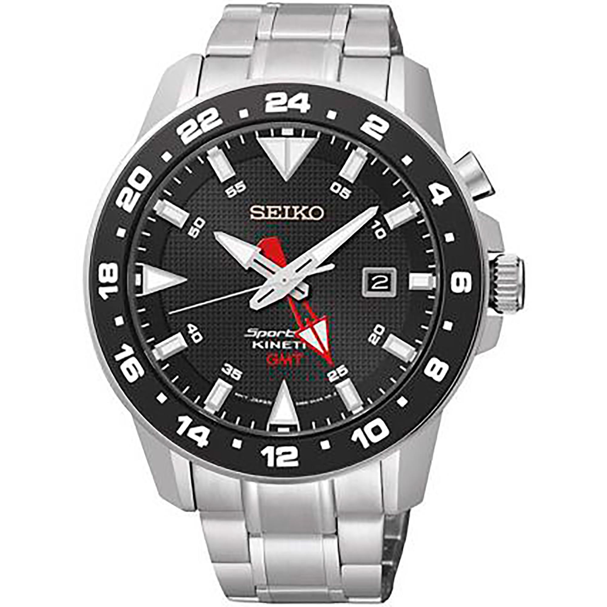 Orologio Seiko Sportura GMT Kinetic SS 3H Nero - SEIKO
