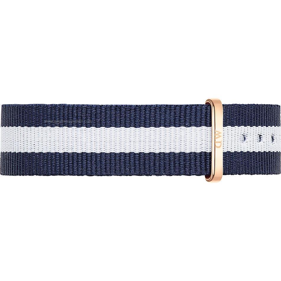 Cinturino Classy Glasgow Nato Blu Bianco Oro Rosa 17mm DW00200078 1053DW - DANIEL WELLINGTON