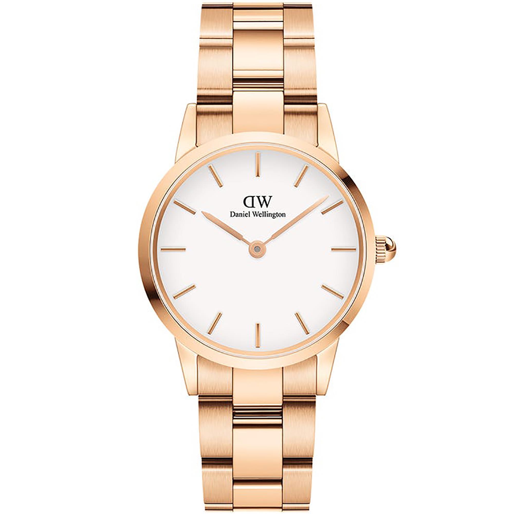 Orologio Iconic Link 28mm Bianco Oro Rosa Donna DW00100213 - DANIEL WELLINGTON