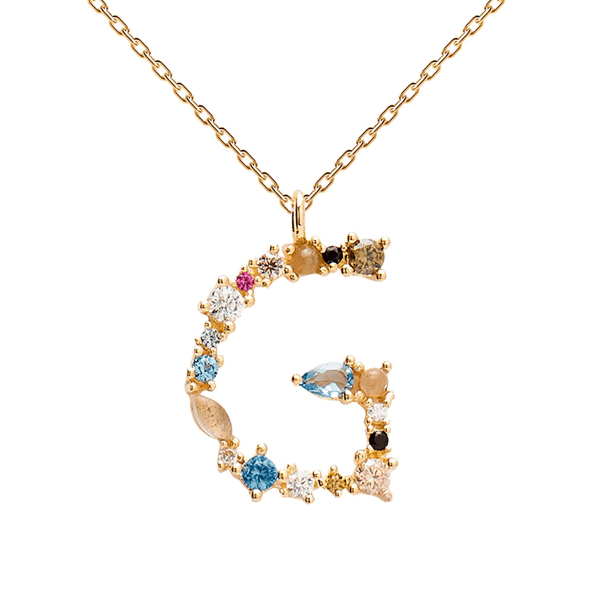 Collana Lettera G Oro Zirconi e Pietre Donna - PDPAOLA