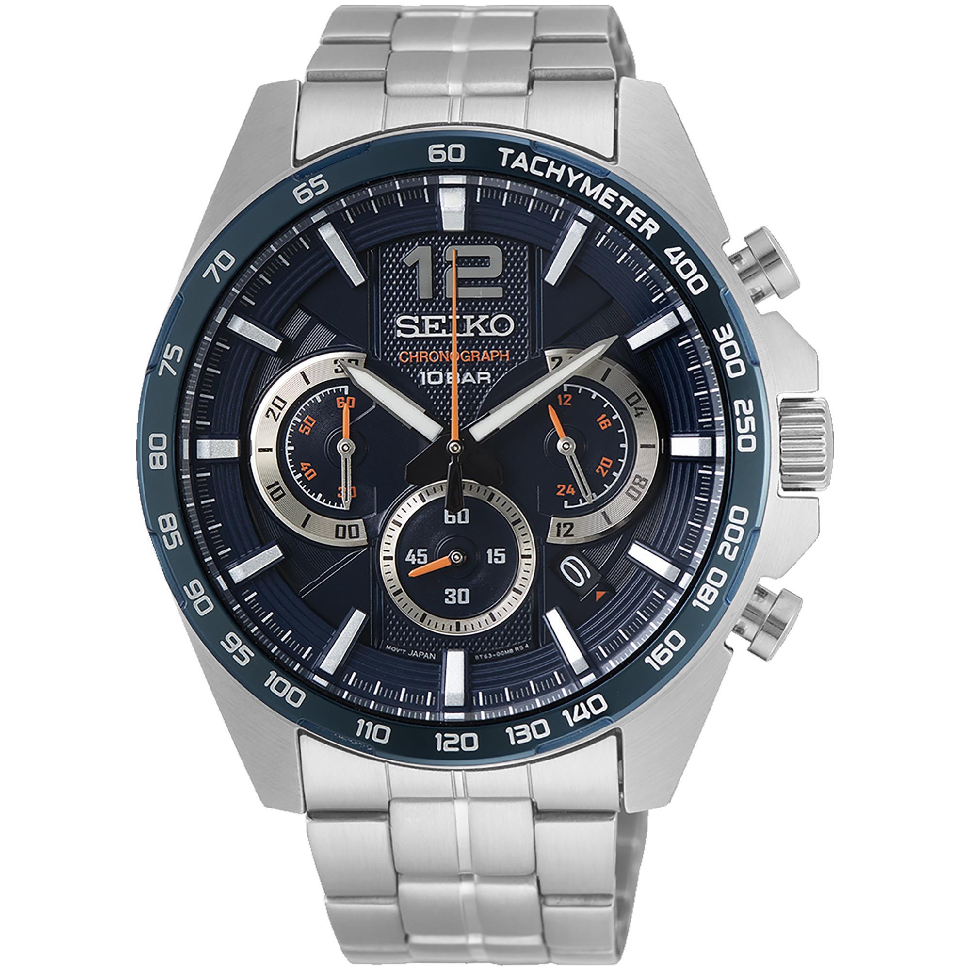 Orologio Cronograph Acciaio Uomo Blu e Arancione - SEIKO
