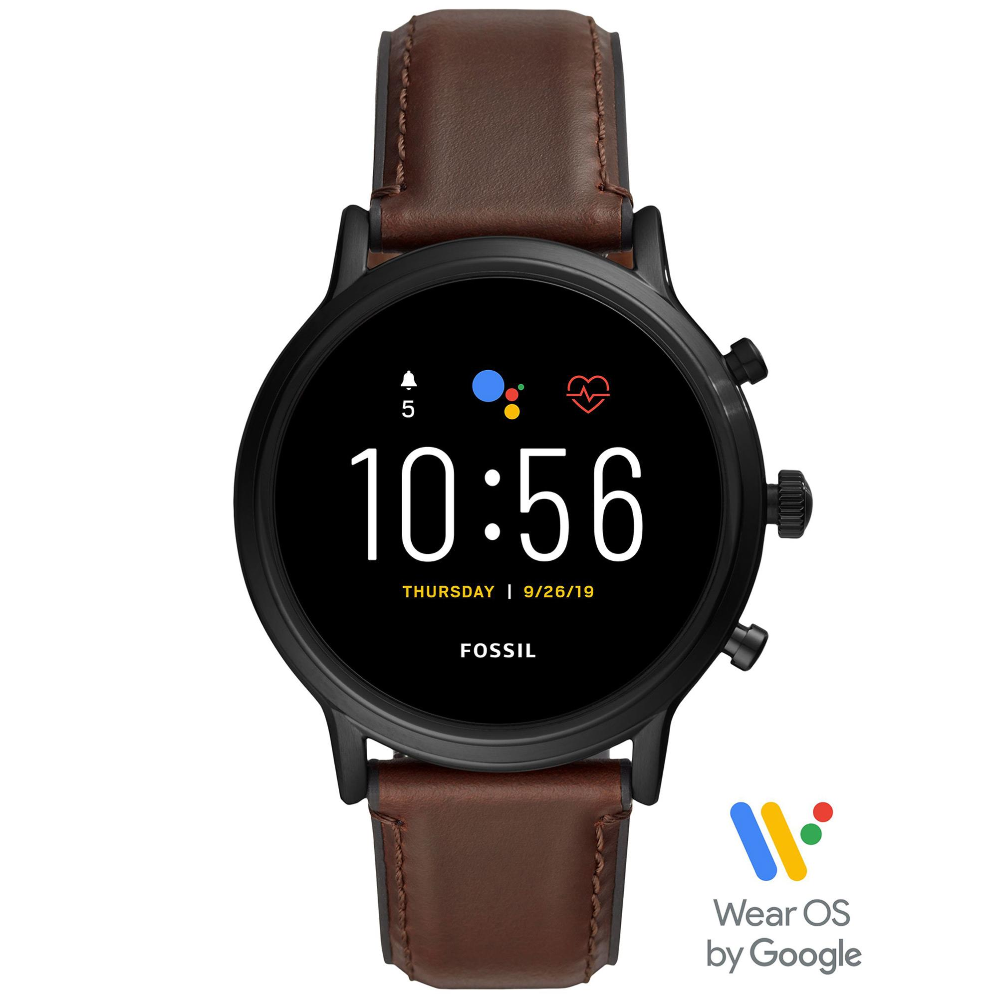 Smartwatch Gen 5 The Carlyle HR con cinturino in pelle marrone scuro - FOSSIL