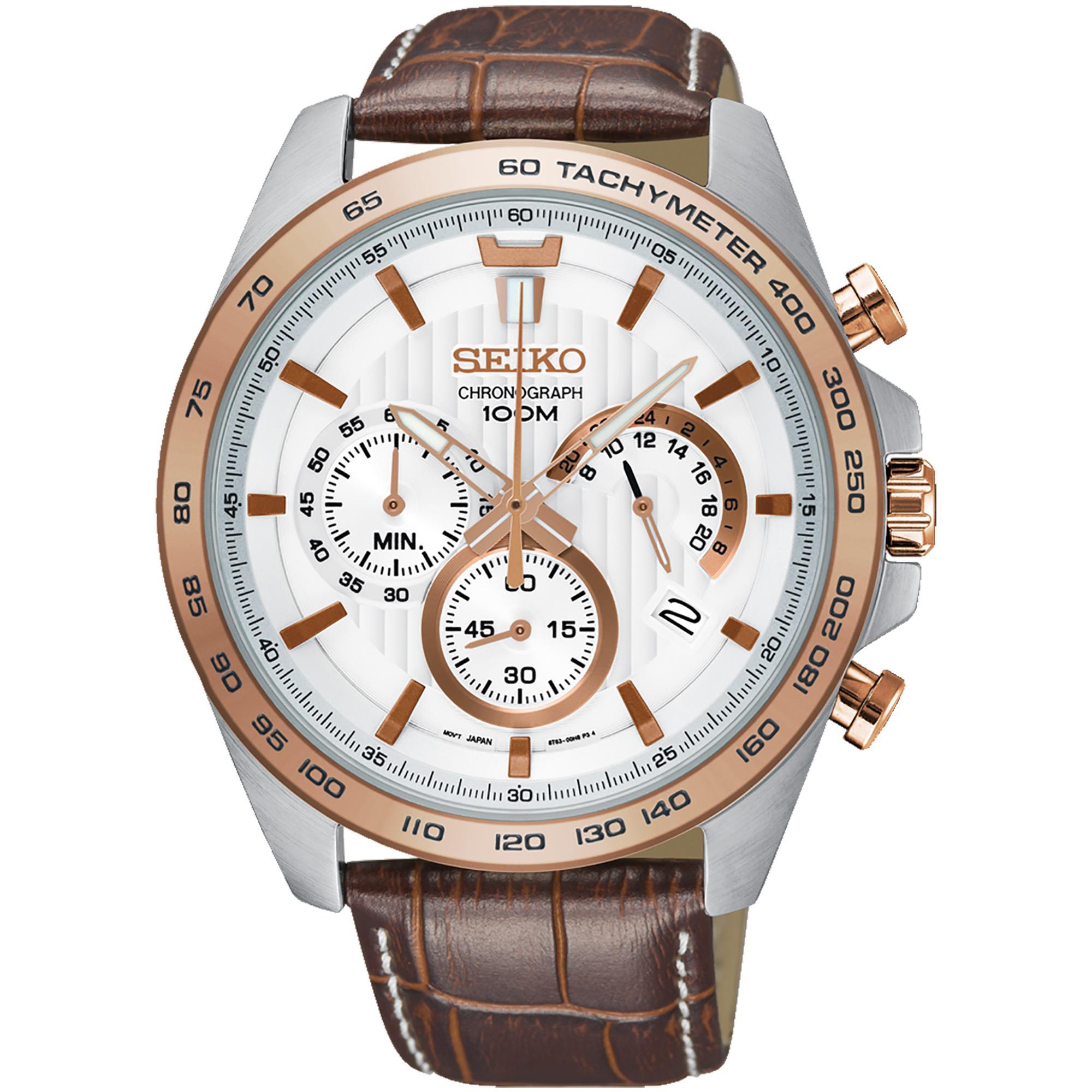 Orologio Cronograph Acciaio Uomo Pelle Bianco e Oro Rosa - SEIKO